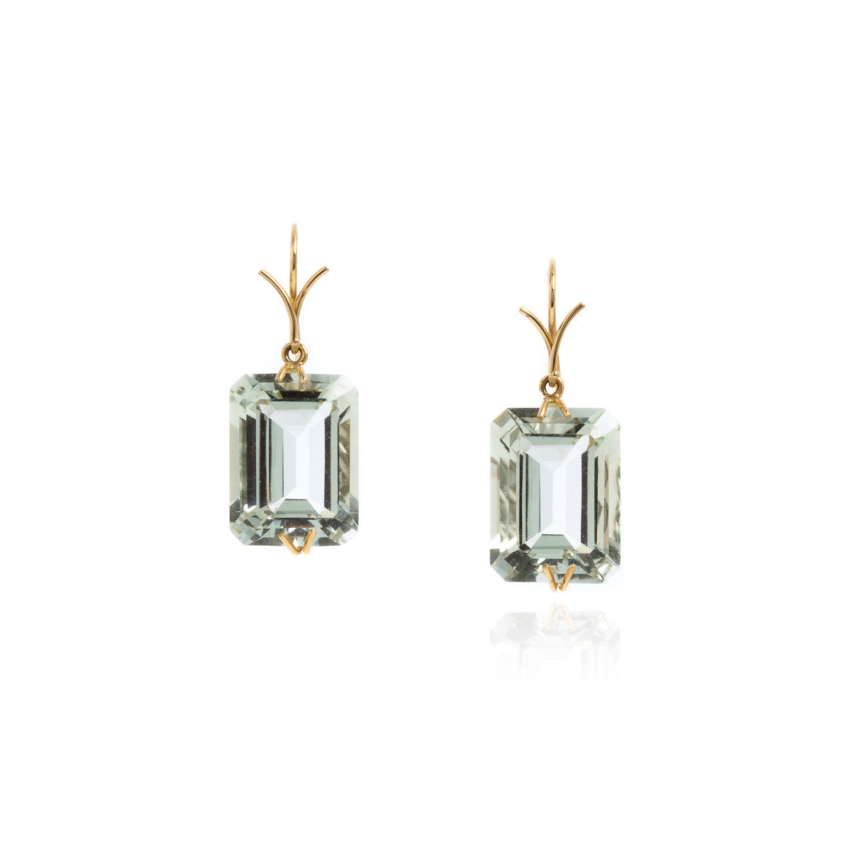 Green quartz emerald cut earrings
