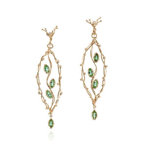 Green tourmaline 'leaf' earrings