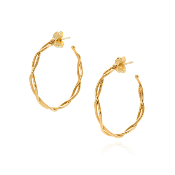 18k yellow gold medium wrapped hoop earrings