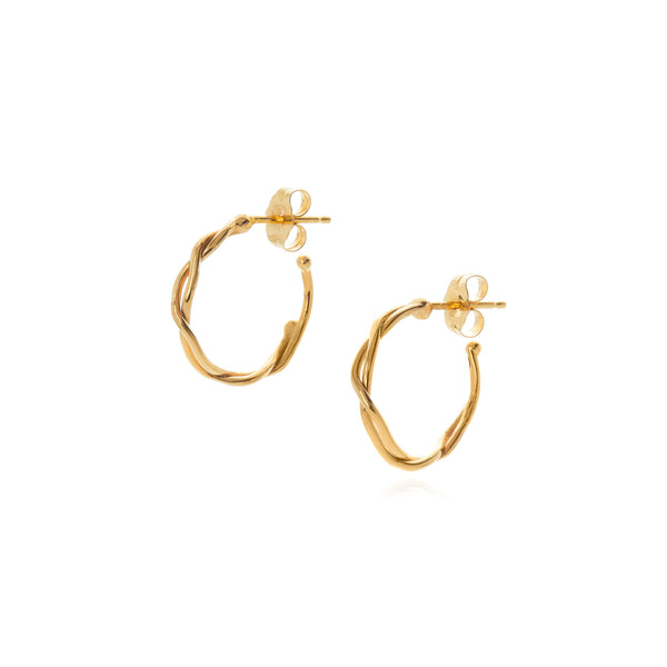 18k yellow gold small wrapped hoop earring