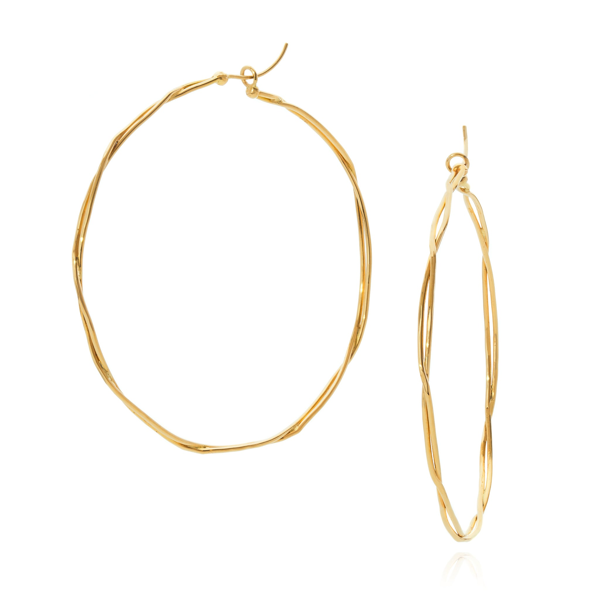 18k yellow gold large wrapped hoop earrings
