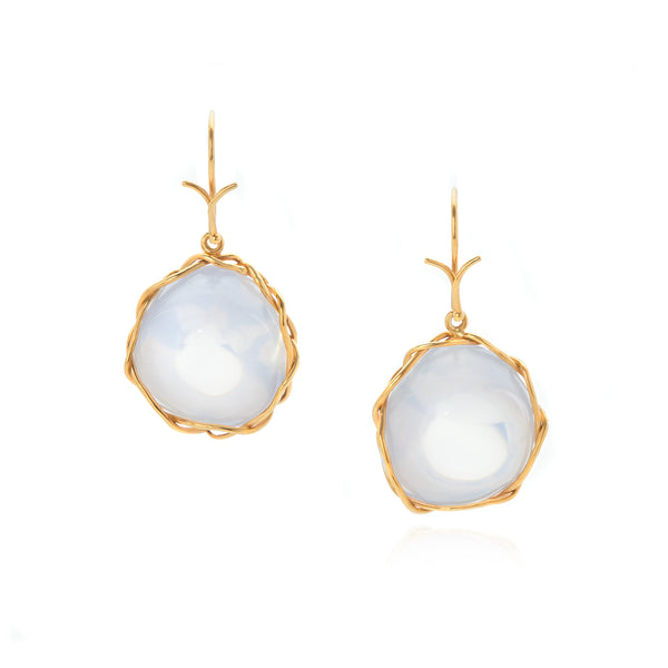 "White quartz ""bubble"" earring in 18k yellow gold vine."