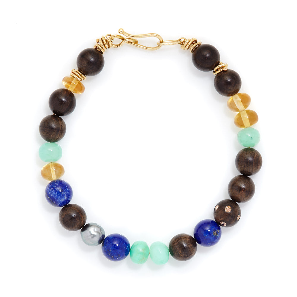 Mixed bead 18k gold bracelet
