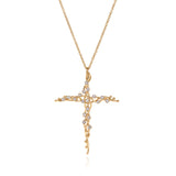 18k large vine cross with diamonds