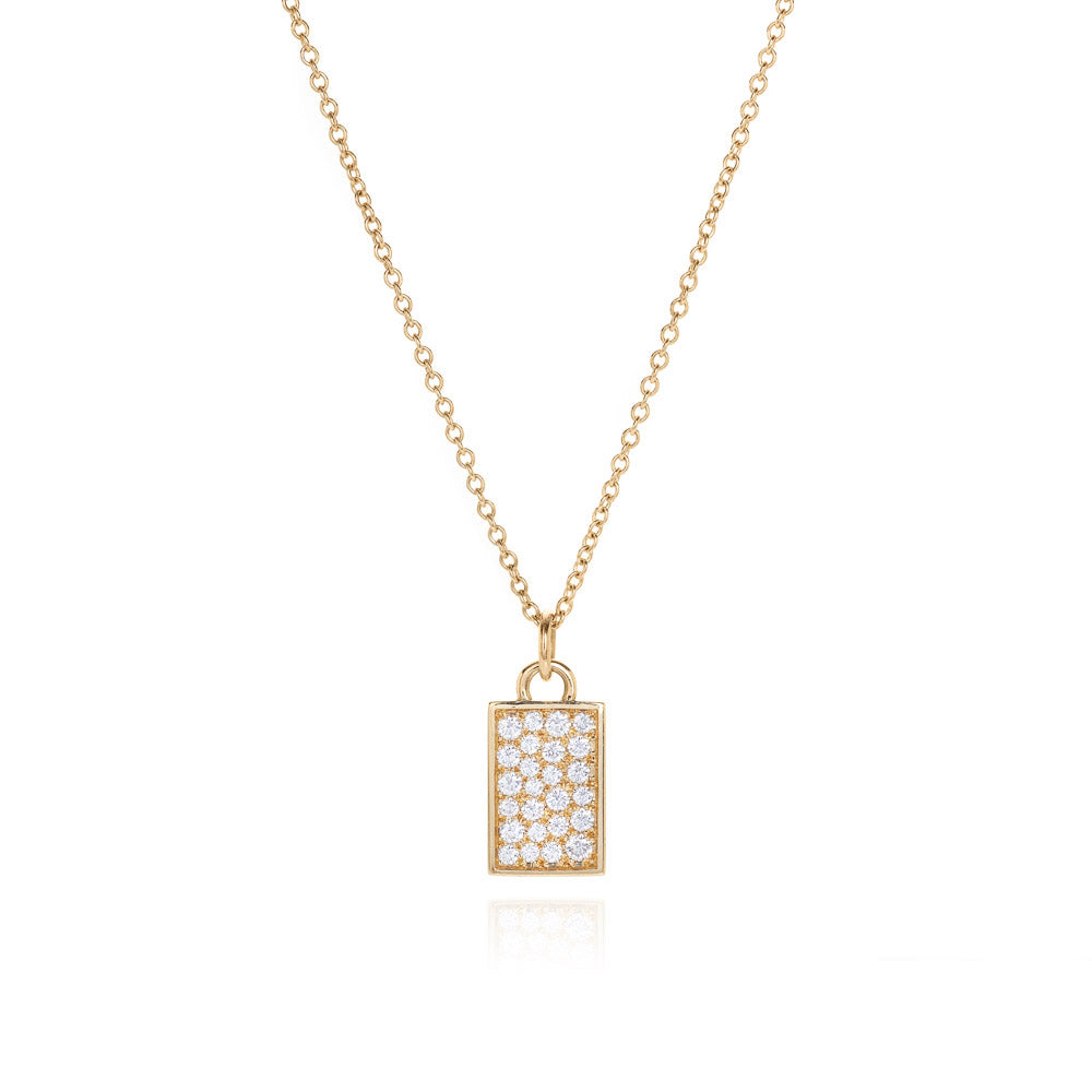 18k diamond tag pendant
