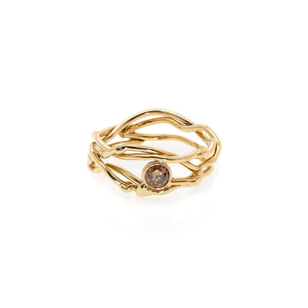 18k multi-band diamond ring