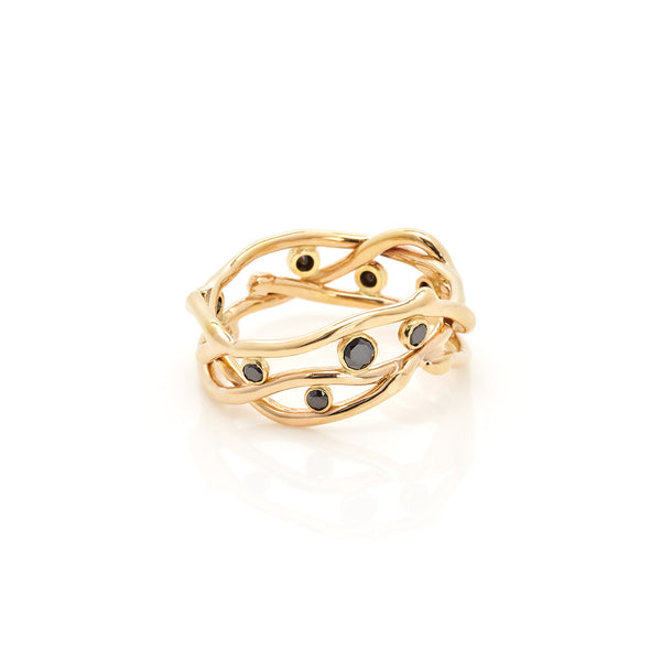 18k multi-vine black diamond ring