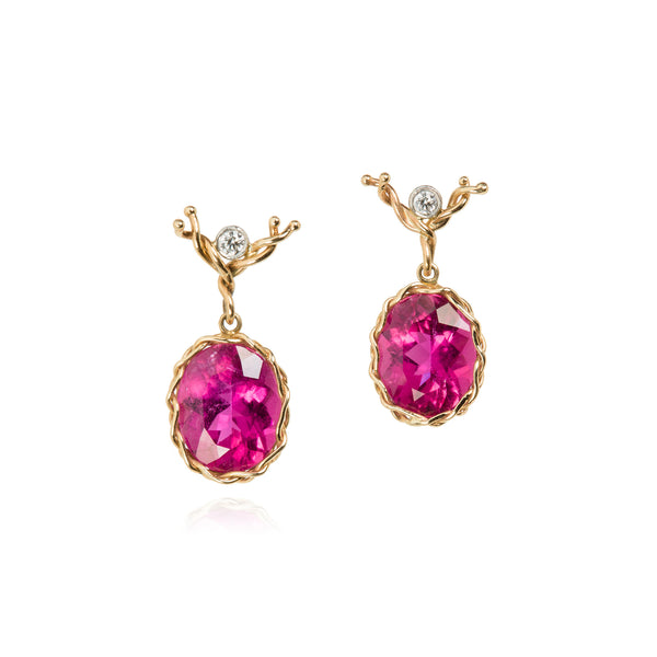 Rubelite faceted oval drop earring in 18k yellow gold vine with diamond ear wire.