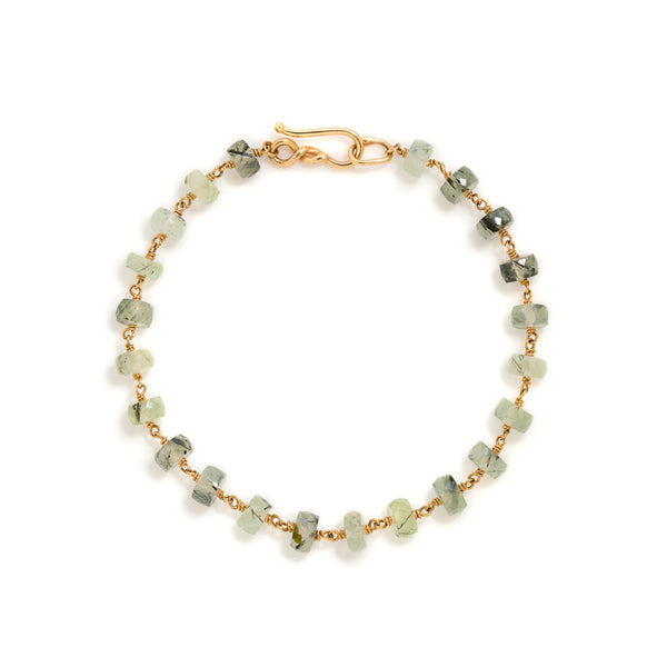 Light green prehnite 18k gold bracelet