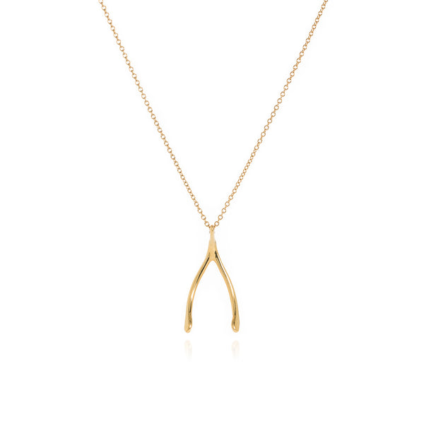 18k gold wish bone pendant