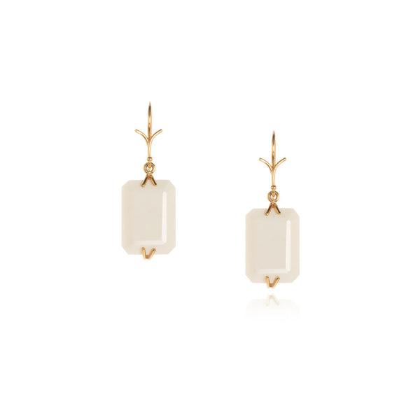 White agate emerald cut earrings