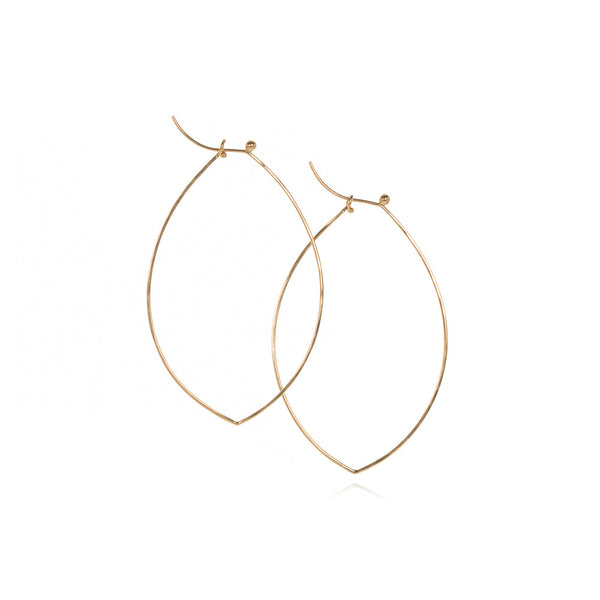 18k flattened 'leaf' hoops