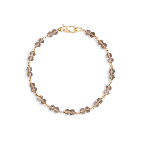 Smokey quartz bead 18k gold bracelet