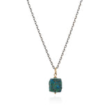 Chrysocolla nugget on sterling silver chain