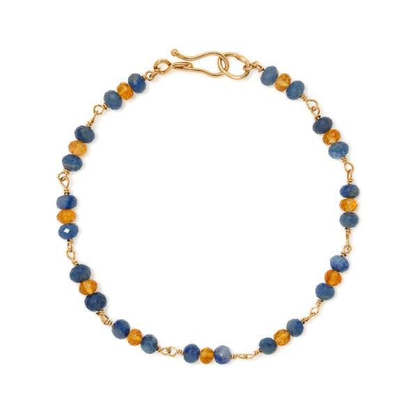 Blue quartz and citrine 18k gold bracelet