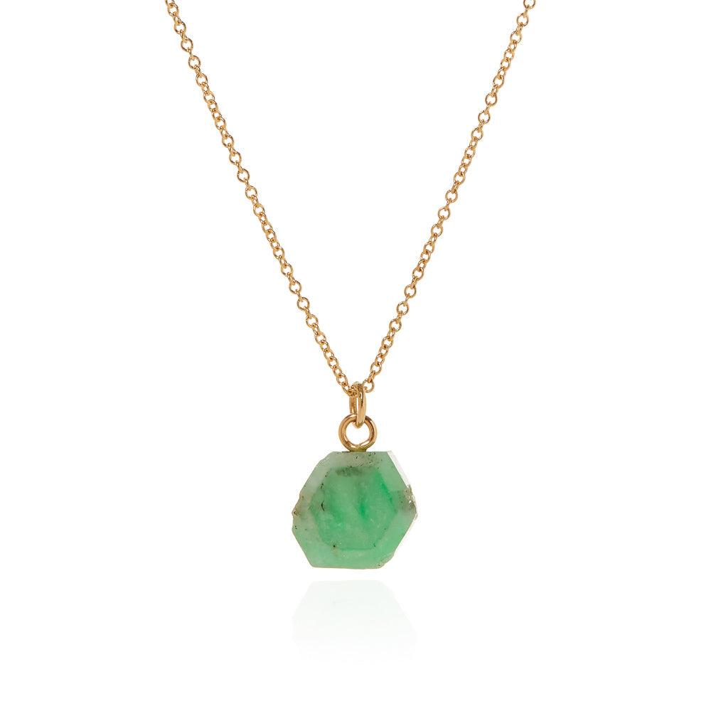 Emerald pendant on 14k gold chain
