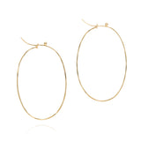 18k large flattened oval hoops