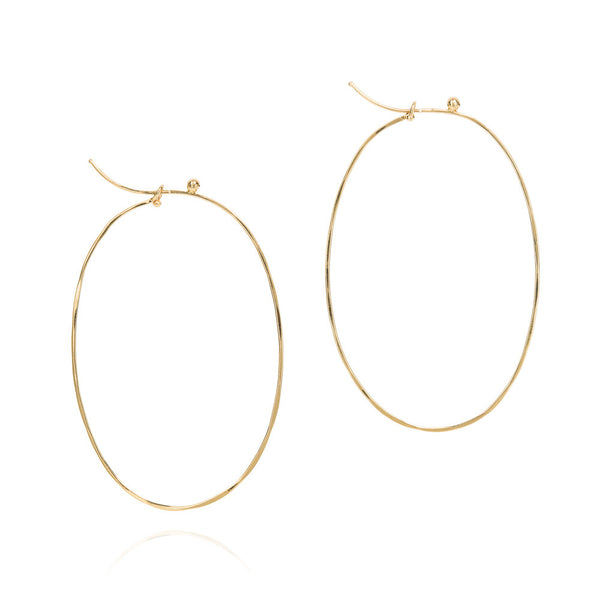 18k yellow gold large flattened oval hoops
