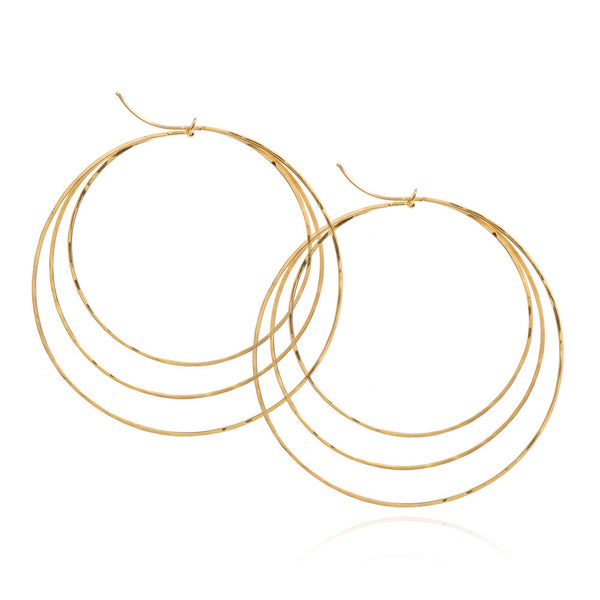 18k yellow gold three tiered earrings