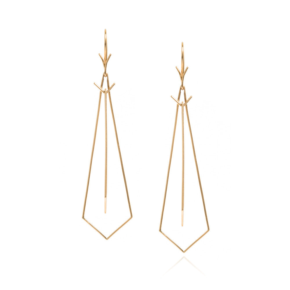 18k double 'tie' earrings