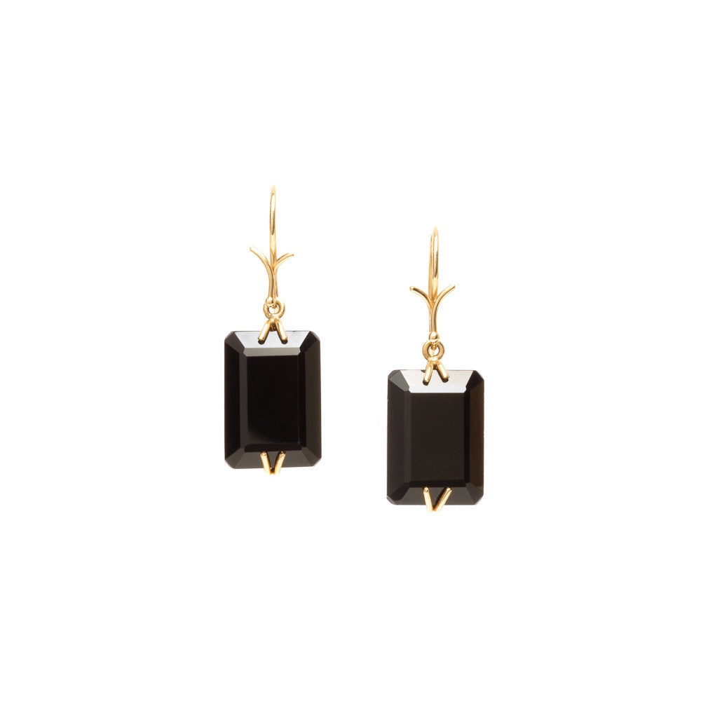 Black agate emerald cut earrings