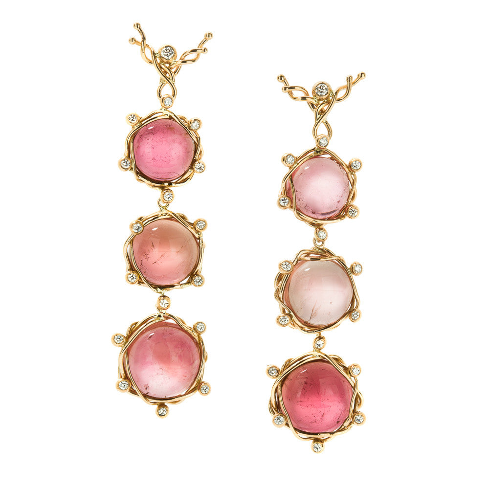 Pink tourmaline 3 drop earrings