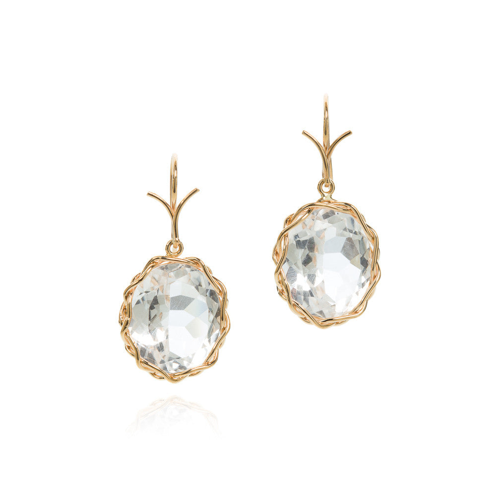 Rock crystal oval faceted earrings in 18k yellow gold vine