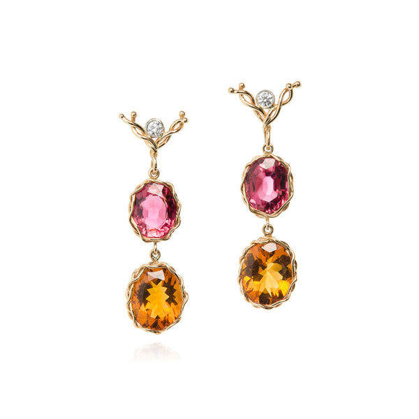Tourmaline & citrine earrings