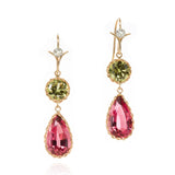 Garnet & tourmaline drop earrings
