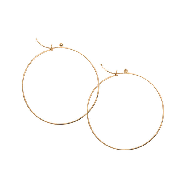 18k yellow gold medium flattened hoops
