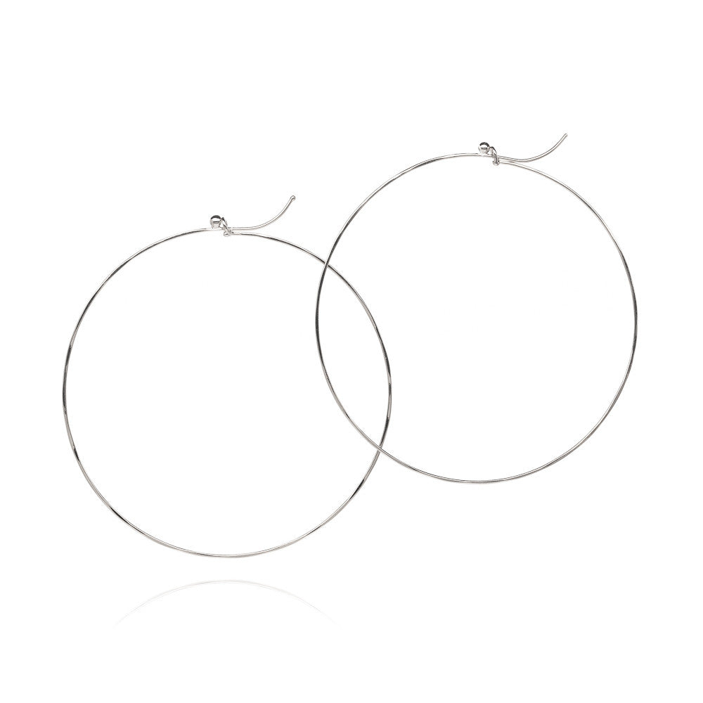 18k white gold large flattened hoops