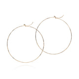 18k yellow gold large flattened hoops