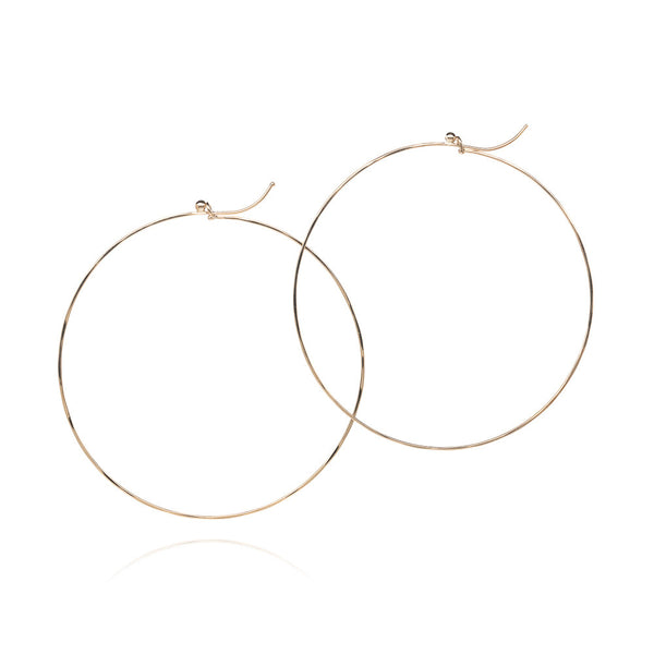 18k large flattened hoops