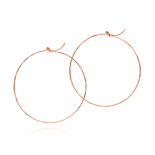 18k red gold large flattened hoop earrings