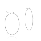 18k white large flattened oval hoops