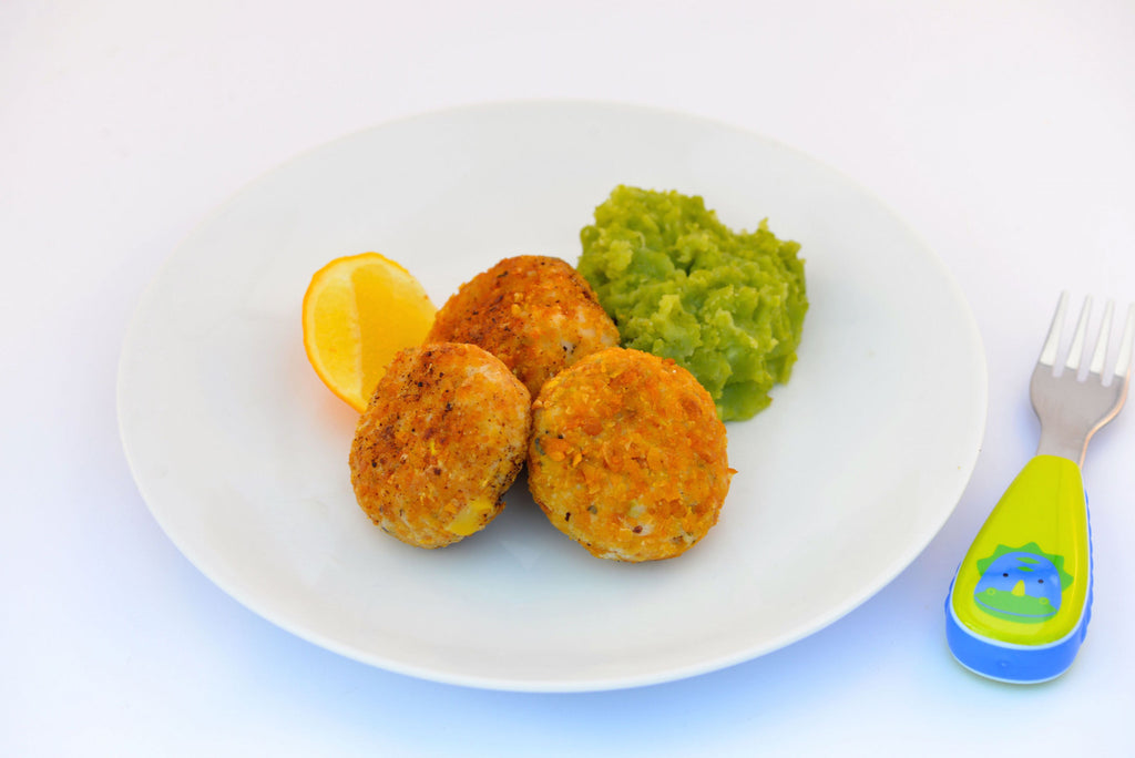 Salmon Patties with Mashed Potato & Pea Puree