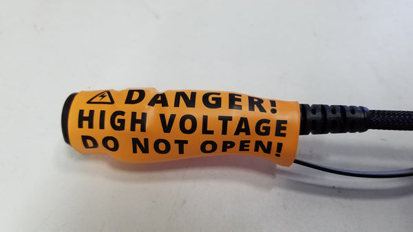 "Car Harness ""Danger! High Voltage. Do Not Open!"" warning heat shrink"