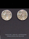 Hopi Made Storyteller Sterling Silver Post Earrings