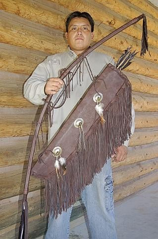 Large Native American Style Buckskin Bow & Quiver