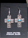 Native American Style Navajo Made Sterling Silver Cross Earrings with Turquoise