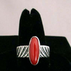 Native American Style Hopi Made Tufa Cast Sterling Silver Band with Coral