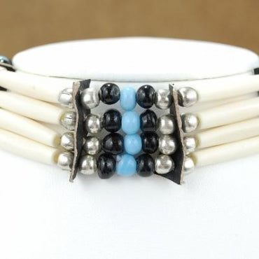 4-Row Native American Style White Choker with Glass Beads