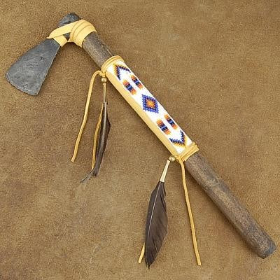 Buckskin Beaded Tomahawk - 15 inches