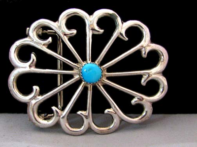 Navajo Made Sand Cast Belt Buckle with Sleeping Beauty Turquoise
