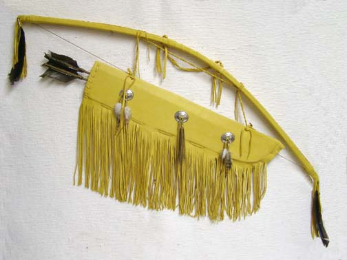 """44"""" Navajo Made Fringed Bow and Quiver with Arrows"""