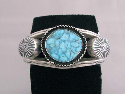 Navajo Made Sterling Silver Cuff with Turquoise Stone