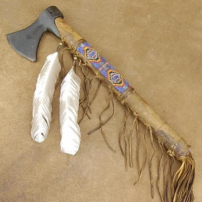 Native American Style Blackhawk Beaded Tomahawk