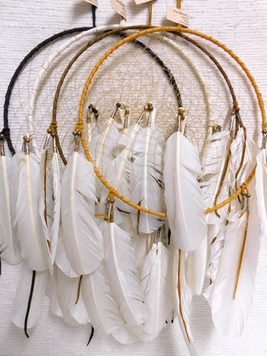 "12"" Navajo Made Dreamcatchers in White"