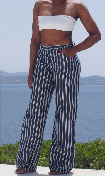 "Striped Straight Leg Pants 36.5"" Inseam"