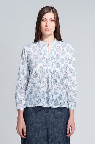 Neve Shirt Dusk Blue Leaf